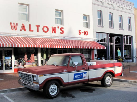 Wal-Mart founder Sam Walton's original five-and-dime store on the town's main square is now a visitor center tracing the history of the company. A replica of Walton's 1979 Ford pickup is parked out front. The original truck is among the exhibits inside.