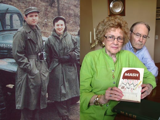 """At left, Dale Drake and his future wife, Cathy McDonough, served during the war. At right, the Drakes in Evansville, Ind., hold an autographed copy of the book """"MASH,"""" which was written by a doctor they served with in the 8055 MASH unit in the Korean War."""