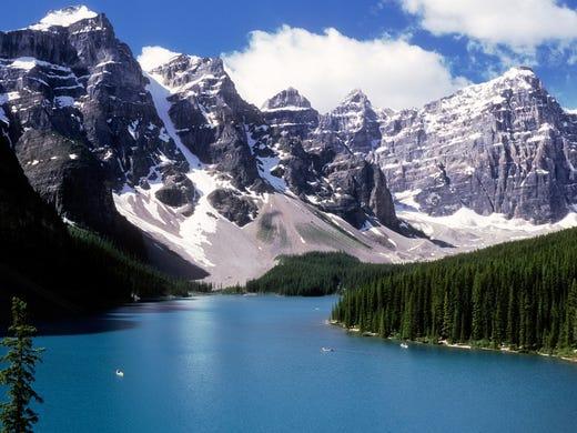 Alberta's Banff National Park offers stunning Rocky Mountain scenery.