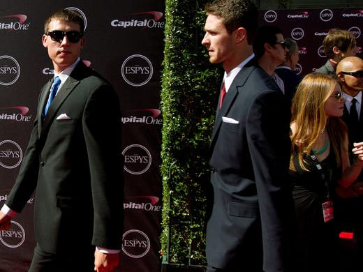 FGCU's Chase Fieler and Eddie Murray, walk the red carpet Wednesday at the ESPYs at the Nokia Theater in Los Angeles.