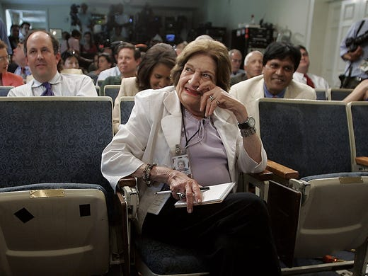 White House reporter Helen Thomas sits in her seat in the front row before the start of a news conference by Tony Snow, press secretary for President George W. Bush, on Aug. 1, 2006.