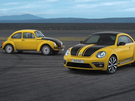 The new, hot 2014 Beetle GSR -- Yellow/Black Racer in German -- is a  limited-edition model that recalls the design scheme and track spirit of the classic Beetle GSR of the 1970s at rear.