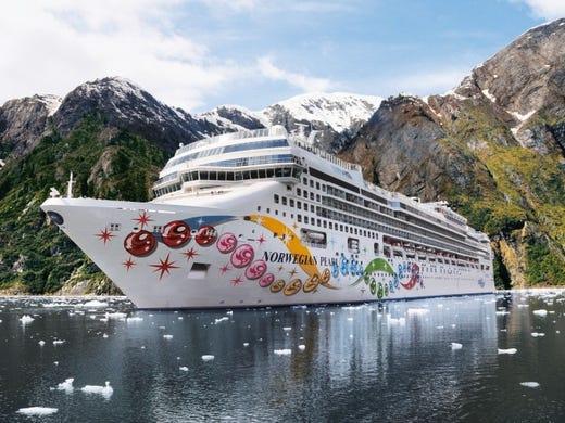 A Norwegian Pearl cruise ship in Alaska