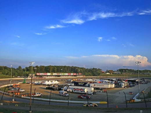 A view of half-mile Eldora Speedway during practice for the Mudsummer Classic.