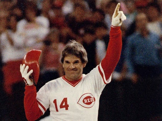 Pete Rose, baseball's all-time hit king, has been banned from MLB since 1989 for betting on baseball as a manager with the Reds.