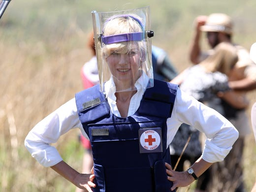 "In 'Diana,' Naomi Watts embodies one of the most famous women on the planet. The film takes a look at the royal's work against land mines, as pictured in this photo, in the final years of her life. ""I learned about it through extensive research,"" says the always-thorough Watts. Playing one of the world's best-known women was daunting, to say the least. ""I kept wondering what I was doing. The first day was a bit like that. But once you're there, you're committed and you get on with it,"" says Watts."
