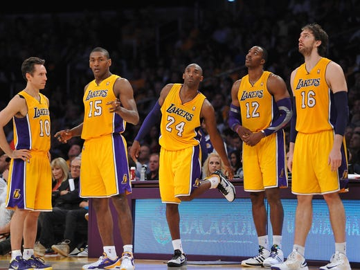 From left, Steve Nash, Metta World Peace, Kobe Bryant, Dwight Howard and Pau Gasol make for an impressive starting lineup. But the Lakers are 1-4 with losses to the Mavericks, Trail Blazers, Clippers and Jazz. Flip through this gallery for more shots from the early-season slide.