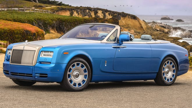 Rolls-Royce brought a blue Waterspeed edition  Phantom to the car shows in Monterey, Calif.