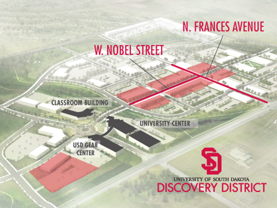 A birds-eye view of the University of South Dakota Discovery District.