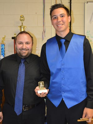 Alex Bruman (right), a senior at Millville Senior High School, and Rob DeSantis, instructor for the school's Jazz Band.