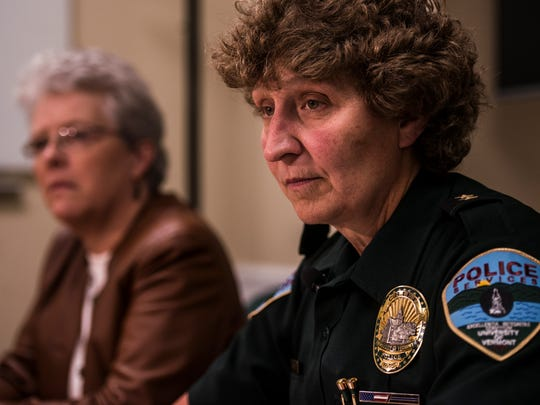 From left, Vice Provost for Student Affairs Annie Stevens and University of Vermont Police Chief Lianne Tuomey answer questions regarding allegations of racist threats on campus during a news conference Friday afternoon, Oct. 6, 2017.