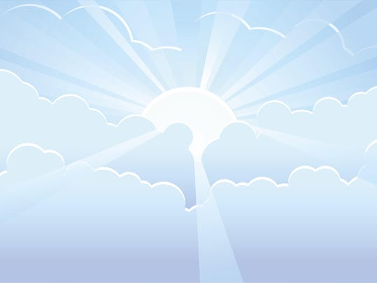 Blue sky with sunrays vector