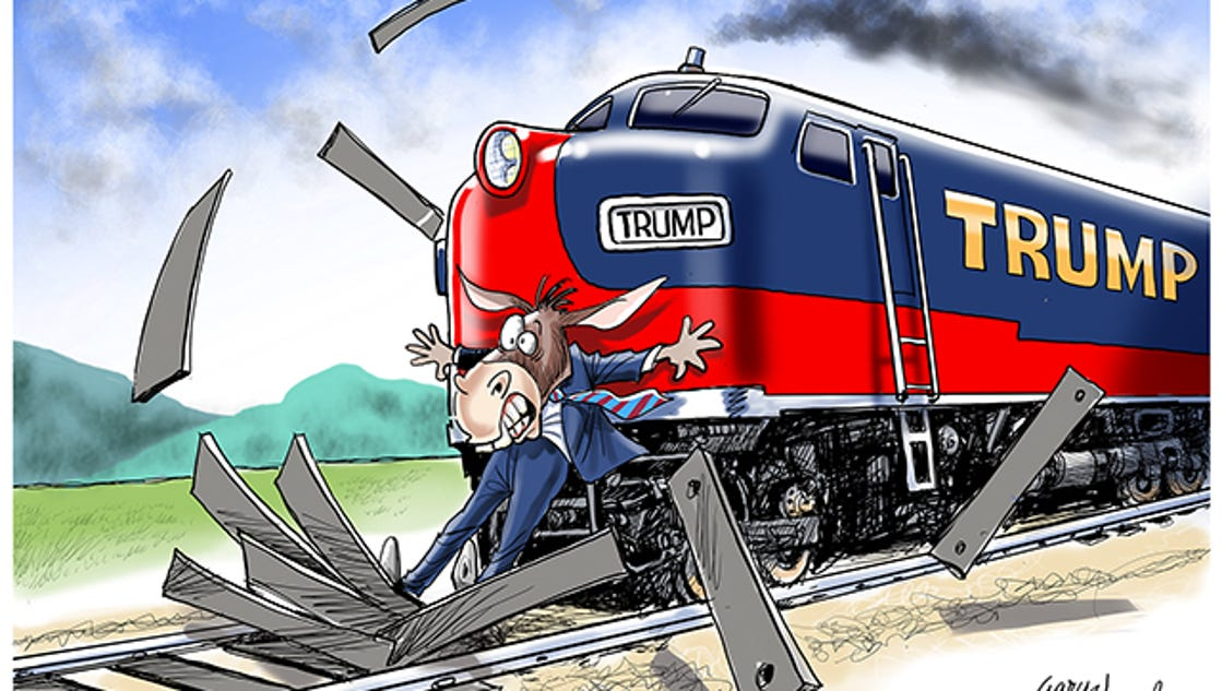 Cartoonist Gary Varvel: Stopping the Trump train