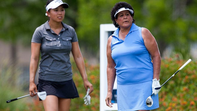 The Legends Tour's Nancy Lopez, right, and Symetra Tour's Brianna Do played together Saturday in the Chico's Patty Berg Memorial at Cypress Lake Country Club in Fort Myers.