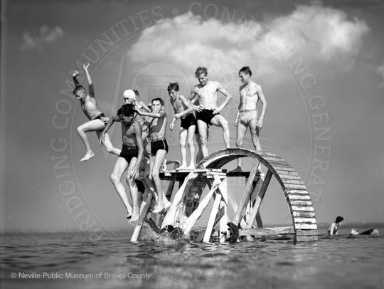 Swimming at Bay Beach ca. 1940.