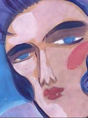 "Jeanne Seagle, Elvis Blue Eyes, gouache on paper, 7"" x 5.5"", framed 17"" x 15.5"""