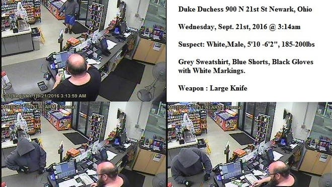 Security photo footage of a robbery in progress at the Duke Gas Station on N 21st Street.