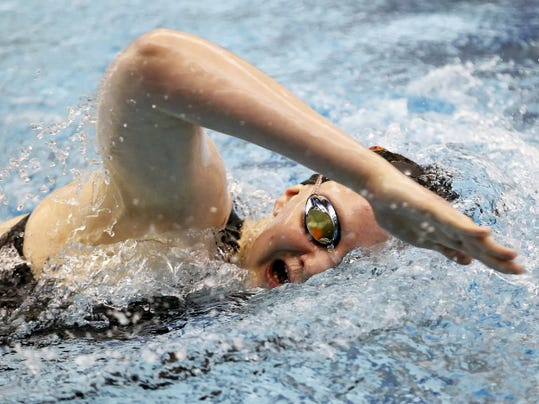 York Suburban's Carson Gross, swims the 500 freestyle during the PIAA Class AA swimming championships in March at Bucknell University. Gross won the YAIAA's only state gold medal, winning the 200 freestyle, and was named GameTimePA.com's Swimmer of the Year.