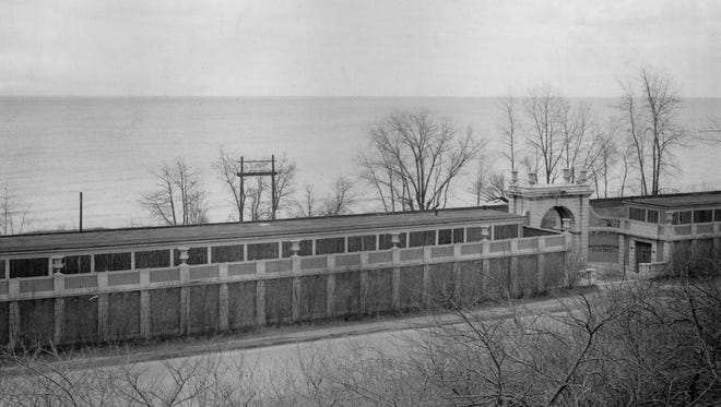 The bathhouse at Durand Eastman Beach is seen in this 1956 photo. At the time, both the beach and the bathhouse had been closed for years.