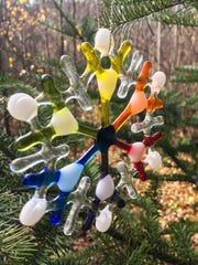 """Glass ornament by Josie Geiger, part of """"Art Show 12: The Ornaments Show"""" Dec. 3 at Plum Bottom Pottery & Gallery."""