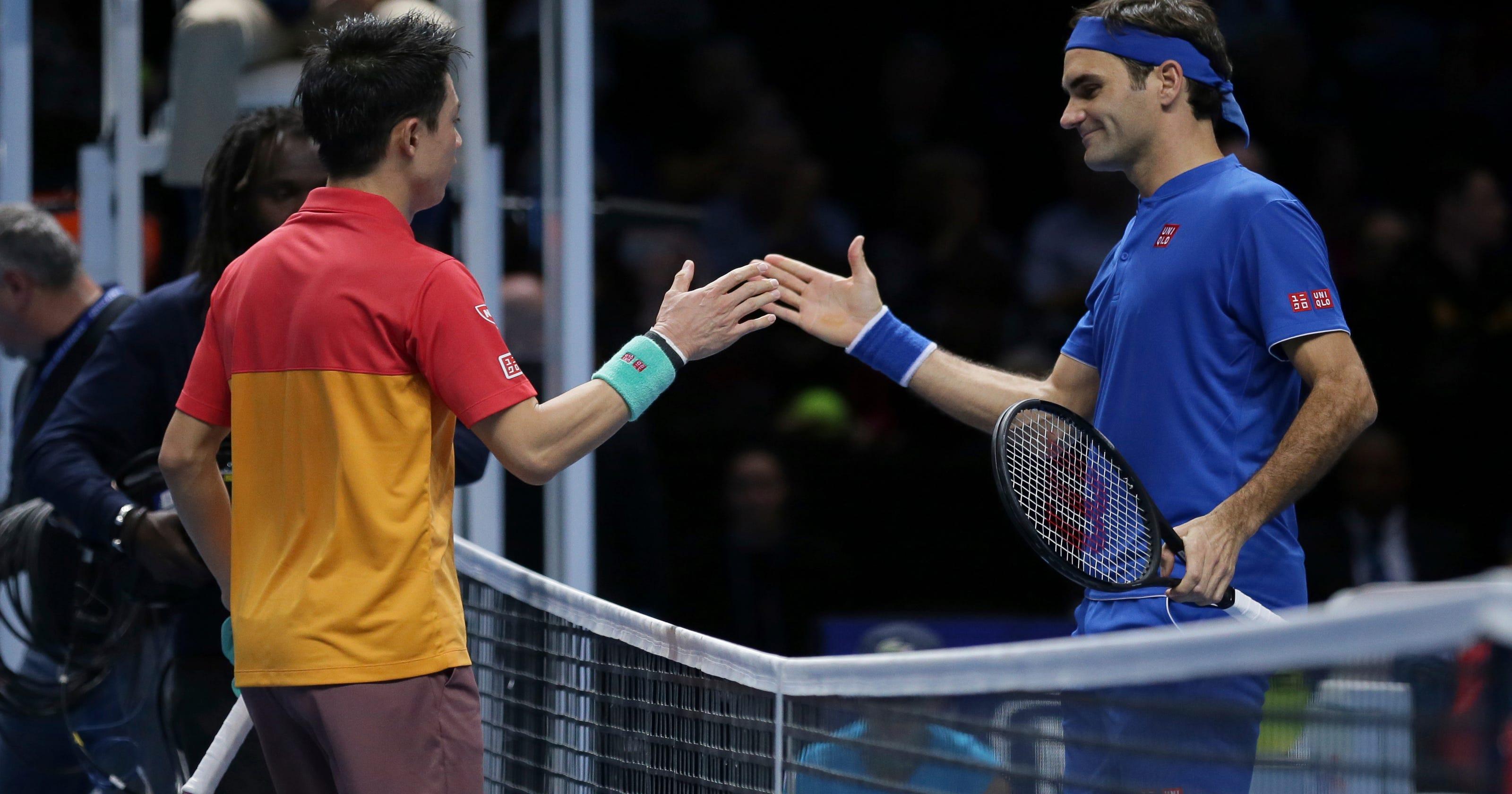 eac08588 Flustered Federer loses ATP Finals opener to Nishikori