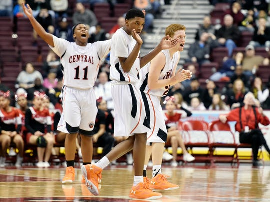 Central York's Onterio Edmonds, Courtney Batts and Nathan Markey react after the Panthers closed the Red Knights' lead to 36-35 in the second half of the PIAA District 3 Class AAAA boys basketball championship game Saturday, Feb. 27, 2016, at the Giant Center in Hershey. Central York, playing its first district title game since 1984, lost 65-54 to Reading.