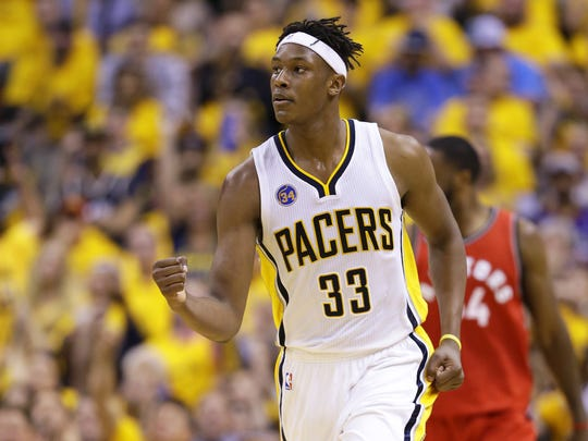 Indiana Pacers forward Myles Turner reacts to the team's