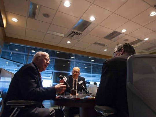 Sen. Patrick Leahy speaks with The Burlington Free Press in Burlington on Monday.