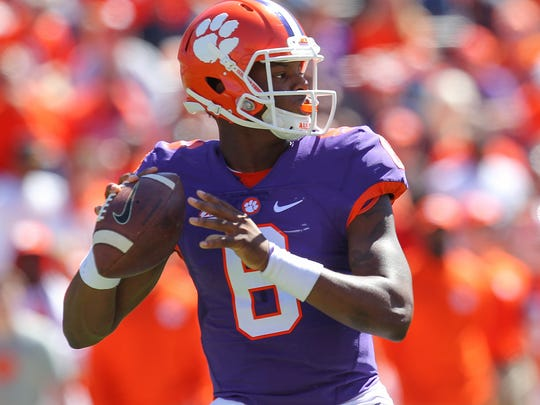 Clemson quarterback Zerrick Cooper (6) throws during Clemson's NCAA college football spring game at Memorial Stadium in Clemson, S.C. on Saturday, April 8, 2017.