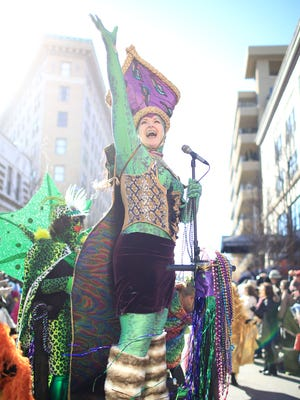 Sheila Thibodeaux was the Lizard Queen of the 2015 Asheville Mardi Gras Parade.