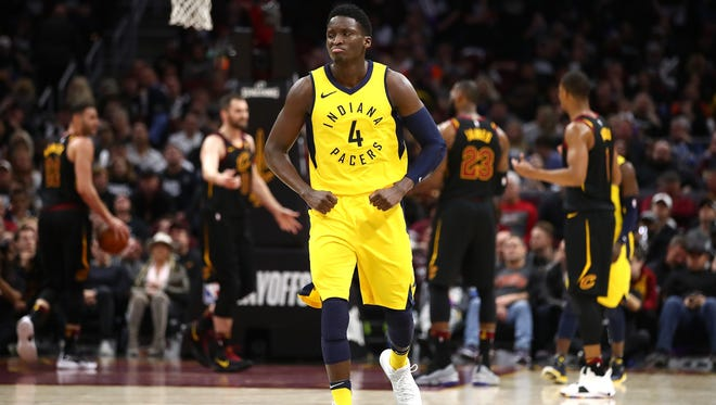 CLEVELAND, OH - APRIL 15:  Victor Oladipo #4 of the Indiana Pacers reacts to a fourth quarter three point basket while playing the Cleveland Cavaliers in Game One of the Eastern Conference Quarterfinals during the 2018 NBA Playoffs at Quicken Loans Arena on April 15, 2018 in Cleveland, Ohio. Indiana won the game 98-80 to take a 1-0 series lead. NOTE TO USER: User expressly acknowledges and agrees that, by downloading and or using this photograph, User is consenting to the terms and conditions of the Getty Images License Agreement. (Photo by Gregory Shamus/Getty Images)