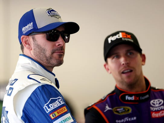 Six-time champion Jimmie Johnson (left) and 2006 rookie