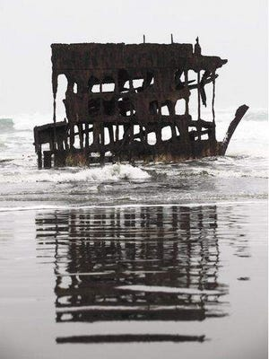 The shipwreck of the Peter Iredale at Fort Stevens State Park.
