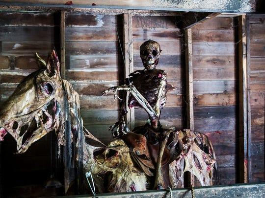 """An undead """"Clint Eastwood"""" mounted on a horse at Scarevania."""