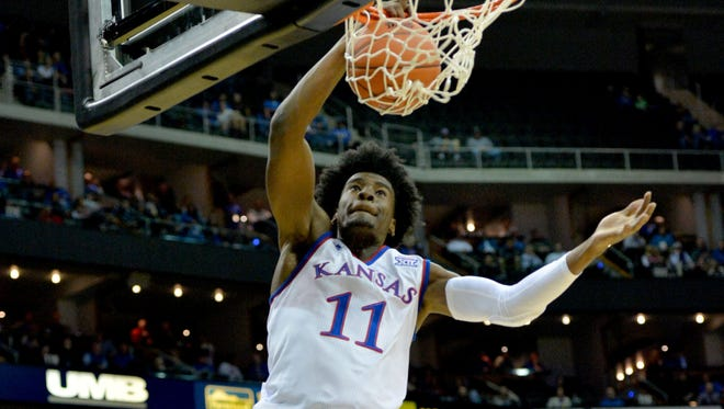Kansas guard Josh Jackson dunks at Sprint Center.