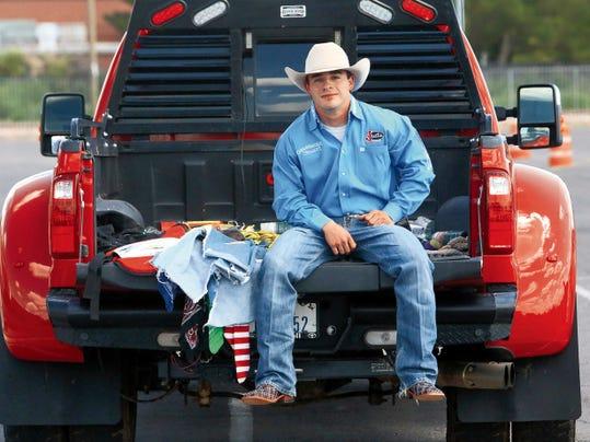 Rudy Gutierrez—El Paso Times Antonio Alarcon has received his pro card as a bullfighter and rodeo clown.