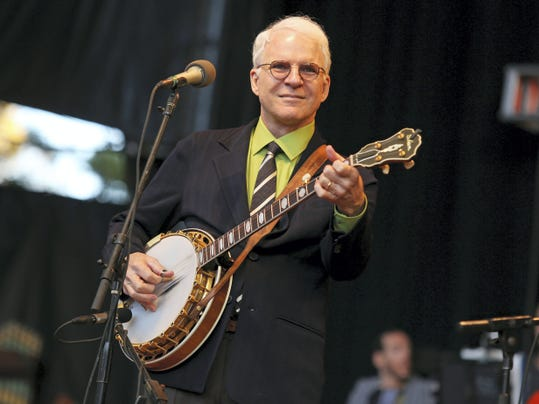 Steve Martin performs in 2012 at the Shoreline Amphitheatre in Mountain View, California. Martin will be honored by the International Bluegrass Music Association with a distinguished achievement award.