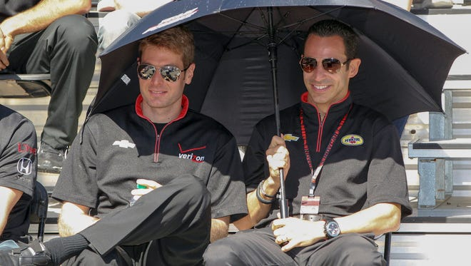 Will Power, left, and Helio Castroneves are 1-2 in points heading to Saturday's IndyCar finale.