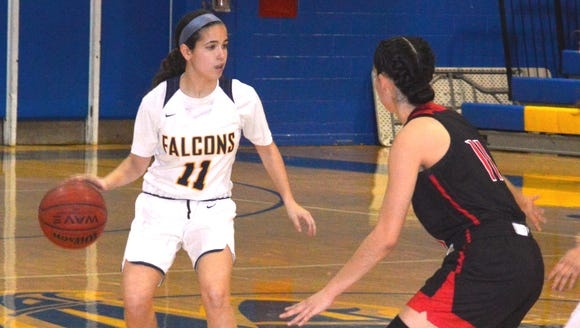 Saddle Brook guard Ashley Georgevich (11, with ball).