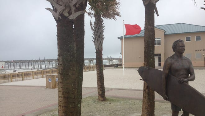 A red flag flew at Pensacola Beach on Wednesday.