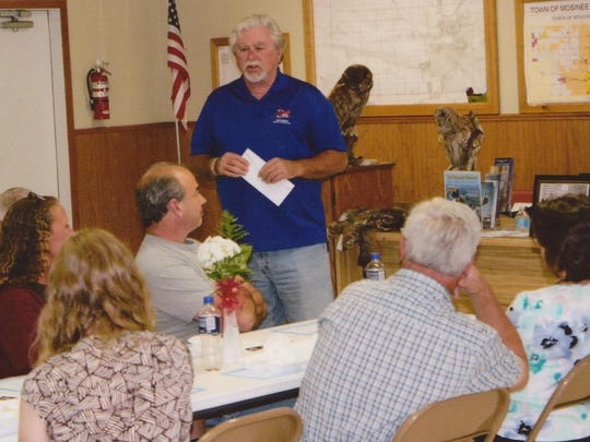 Pictured is Jim Campbell, of the Never Forgotten Honor Flight, giving a presentation to the members of Western Fraternal Life, Lodge No. 144, Mosinee. His presentation was very interesting and informative, and he also fielded many questions from those in attendance. Western Fraternal Life made a $500 donation to the Honor Flight, in honor of Marcell Wieloch.