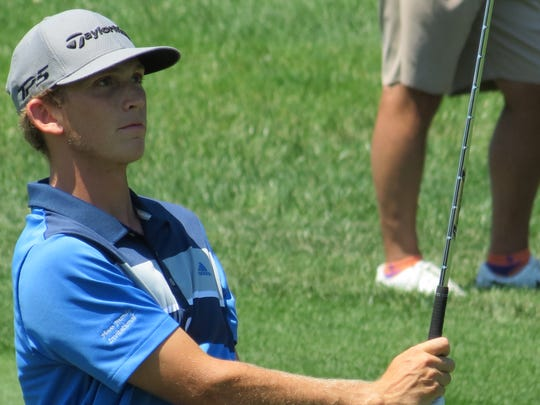 Jacob Bridgeman of South Carolina won his opening match, 2 and 1, at the 71st U.S. Junior Amateur golf championship at Baltusrol Golf Club in Springfield, N.J. on Wednesday, July 18, 2018.