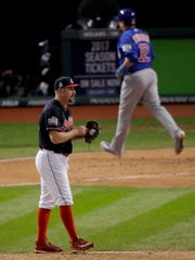 Cleveland Indians relief pitcher Bryan Shaw looks away