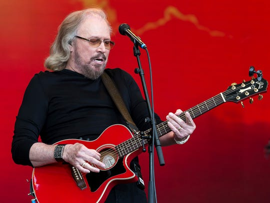 Barry Gibb at the Glastonbury Festival in Somerset,