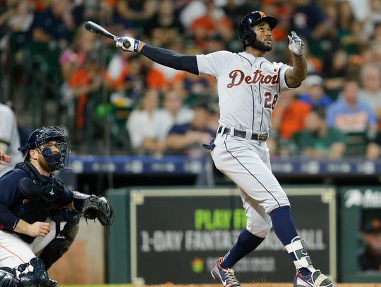 Niko Goodrum of the Detroit Tigers hits a home run