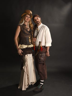 Melting Pot owners Monique and Eric Baron go Steampunk and pirate, two of the more popular adult costumes.