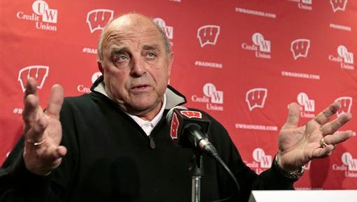 Wisconsin athletic director Barry Alvarez speaks during a news conference in the UW Field House media room near Camp Randall Stadium in Madison, Wis., Wednesday, Dec. 10, 2014. Head football coach Gary Andersen announced Wednesday he was leaving to become the coach at Oregon State.