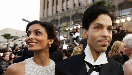FILE - In this Feb. 27, 2005 file photo, singer Prince arrives with his wife Manuela Testolini for the 77th Academy Awards in Los Angeles. Records from the late megastar's divorce from Testolini were unsealed Friday, Jan. 13, 2017, by a judge's order. The Minneapolis Star Tribune went to court to unseal the files, which show Testolini said the couple threw lavish parties after major awards shows. The couple's divorce was granted in 2007.  Prince died of an accidental painkiller overdose on April 21, 2016.