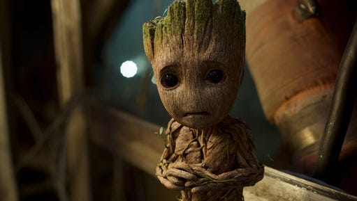 "This image released by Disney-Marvel shows Groot, voiced by Vin Diesel, in a scene from, ""Guardians Of The Galaxy Vol. 2."""