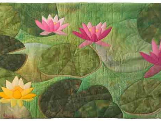 """Water Garden quilt by Kathie Kerler. Kerler will give a one-hour lecture titled """"Embracing the British Way in the USA"""" 1 p.m. on Saturday, Jan. 23 and Sunday, Jan. 24."""